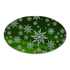 Christmas Star Ice Crystal Green Background Oval Magnet by BangZart