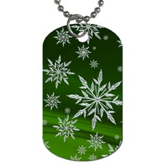 Christmas Star Ice Crystal Green Background Dog Tag (two Sides) by BangZart