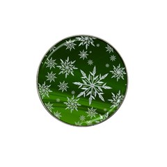 Christmas Star Ice Crystal Green Background Hat Clip Ball Marker (4 Pack)