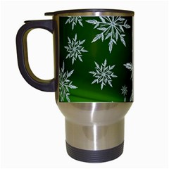 Christmas Star Ice Crystal Green Background Travel Mugs (white) by BangZart