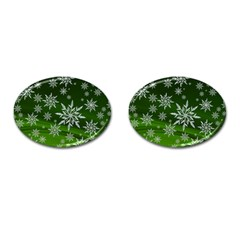 Christmas Star Ice Crystal Green Background Cufflinks (oval)