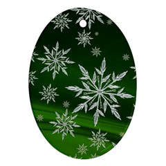 Christmas Star Ice Crystal Green Background Oval Ornament (two Sides) by BangZart