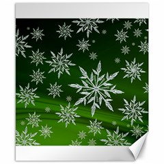Christmas Star Ice Crystal Green Background Canvas 8  X 10  by BangZart