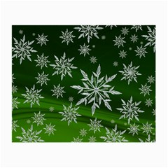 Christmas Star Ice Crystal Green Background Small Glasses Cloth (2 Side) by BangZart