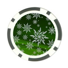 Christmas Star Ice Crystal Green Background Poker Chip Card Guard