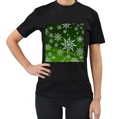 Christmas Star Ice Crystal Green Background Women s T Shirt (black) by BangZart