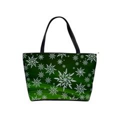Christmas Star Ice Crystal Green Background Shoulder Handbags