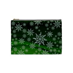 Christmas Star Ice Crystal Green Background Cosmetic Bag (medium)