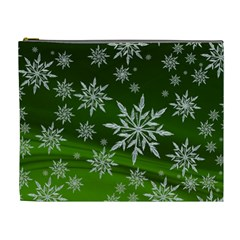 Christmas Star Ice Crystal Green Background Cosmetic Bag (xl)
