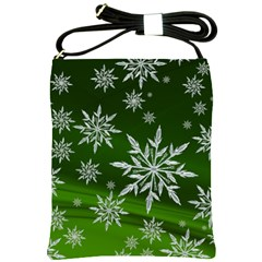 Christmas Star Ice Crystal Green Background Shoulder Sling Bags by BangZart