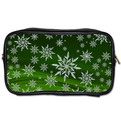 Christmas Star Ice Crystal Green Background Toiletries Bags by BangZart