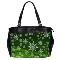 Christmas Star Ice Crystal Green Background Office Handbags (2 Sides)  by BangZart