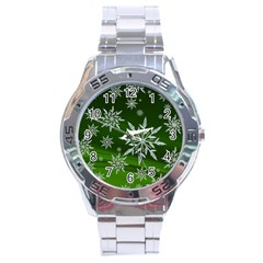 Christmas Star Ice Crystal Green Background Stainless Steel Analogue Watch