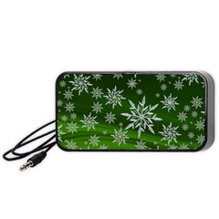 Christmas Star Ice Crystal Green Background Portable Speaker