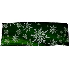 Christmas Star Ice Crystal Green Background Body Pillow Case Dakimakura (two Sides) by BangZart