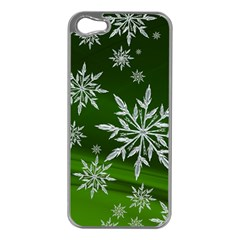 Christmas Star Ice Crystal Green Background Apple Iphone 5 Case (silver)