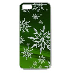 Christmas Star Ice Crystal Green Background Apple Seamless Iphone 5 Case (clear) by BangZart