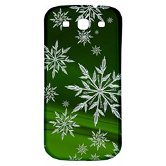 Christmas Star Ice Crystal Green Background Samsung Galaxy S3 S Iii Classic Hardshell Back Case by BangZart