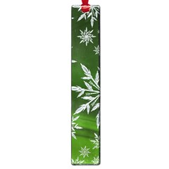 Christmas Star Ice Crystal Green Background Large Book Marks by BangZart
