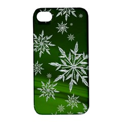 Christmas Star Ice Crystal Green Background Apple Iphone 4/4s Hardshell Case With Stand by BangZart
