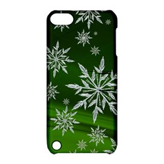 Christmas Star Ice Crystal Green Background Apple Ipod Touch 5 Hardshell Case With Stand