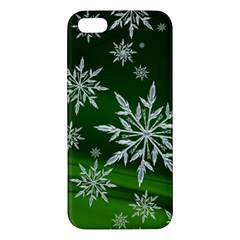 Christmas Star Ice Crystal Green Background Apple Iphone 5 Premium Hardshell Case