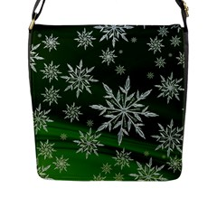 Christmas Star Ice Crystal Green Background Flap Messenger Bag (l)  by BangZart