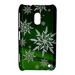 Christmas Star Ice Crystal Green Background Nokia Lumia 620 by BangZart