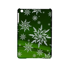 Christmas Star Ice Crystal Green Background Ipad Mini 2 Hardshell Cases