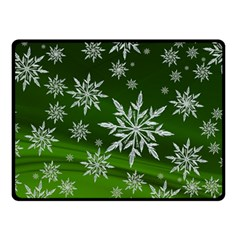 Christmas Star Ice Crystal Green Background Double Sided Fleece Blanket (small)
