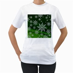 Christmas Star Ice Crystal Green Background Women s T Shirt (white)