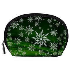 Christmas Star Ice Crystal Green Background Accessory Pouches (large)  by BangZart
