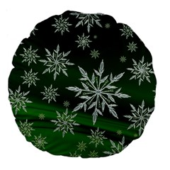 Christmas Star Ice Crystal Green Background Large 18  Premium Flano Round Cushions
