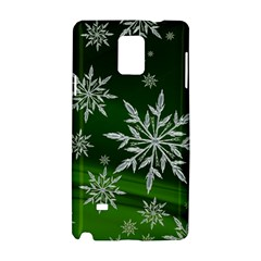 Christmas Star Ice Crystal Green Background Samsung Galaxy Note 4 Hardshell Case