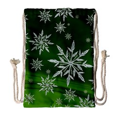 Christmas Star Ice Crystal Green Background Drawstring Bag (large)