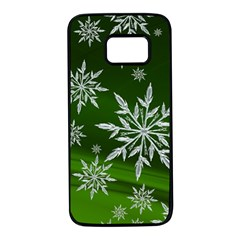 Christmas Star Ice Crystal Green Background Samsung Galaxy S7 Black Seamless Case
