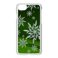 Christmas Star Ice Crystal Green Background Apple Iphone 8 Seamless Case (white) by BangZart