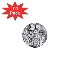 Time Clock Watches Time Of 1  Mini Buttons (100 Pack)