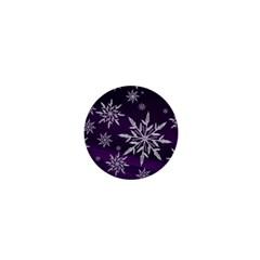 Christmas Star Ice Crystal Purple Background 1  Mini Magnets