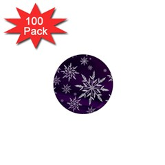Christmas Star Ice Crystal Purple Background 1  Mini Magnets (100 Pack)  by BangZart