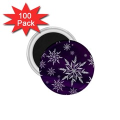 Christmas Star Ice Crystal Purple Background 1 75  Magnets (100 Pack)  by BangZart