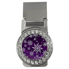 Christmas Star Ice Crystal Purple Background Money Clips (cz)  by BangZart