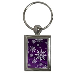 Christmas Star Ice Crystal Purple Background Key Chains (rectangle)