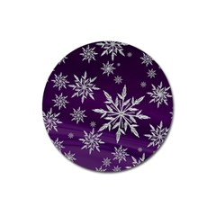 Christmas Star Ice Crystal Purple Background Magnet 3  (round)