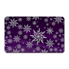 Christmas Star Ice Crystal Purple Background Magnet (rectangular)