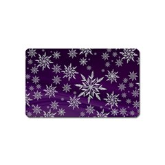 Christmas Star Ice Crystal Purple Background Magnet (name Card)