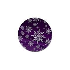 Christmas Star Ice Crystal Purple Background Golf Ball Marker by BangZart