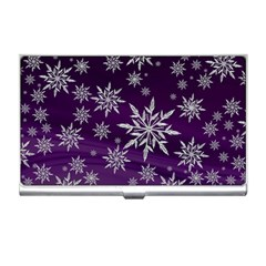 Christmas Star Ice Crystal Purple Background Business Card Holders by BangZart