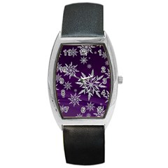 Christmas Star Ice Crystal Purple Background Barrel Style Metal Watch by BangZart