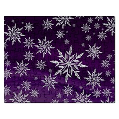Christmas Star Ice Crystal Purple Background Rectangular Jigsaw Puzzl